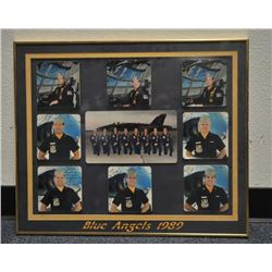 Lot of 10 framed pieces of Blue Angels items  including 7 individual photos signed by the  respectiv
