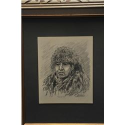 """Original pencil sketch signed """"Ranson""""  depicting subject of Indian brave and titled  """"White Dove""""."""