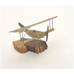 Lot of 2 brass bi-plane models.  From the  Bill Bettis Nieuport  17 Restaurant  collection.  Est.: