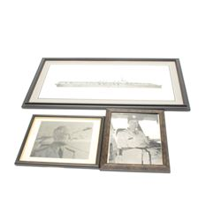 Lot of 3 framed U.S. Naval related items  including a hand signed print of the U.S.S.  Monterey CVL
