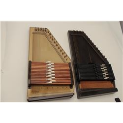 Lot of 2 auto harps as described: 1 by Oscar  Schmidt in good condition in case (Vintage).  1 wood b