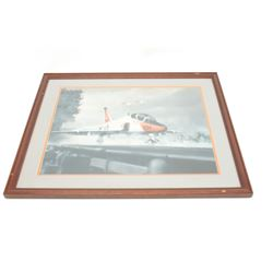 Large framed and matted print of a Navy Jet  ready for takeoff from the flight deck of a  carrier, a
