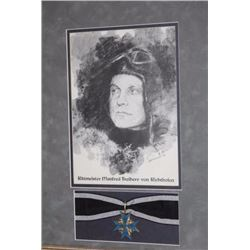 Framed and matted Blue Max medal and ribbon  with sketch of German Ace von Richthofen;  approximatel