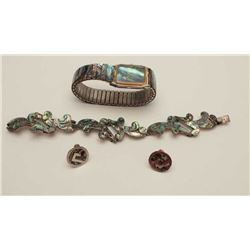 One matching set of fine sterling silver  bracelet and earrings inlaid with fine  abalone plus match