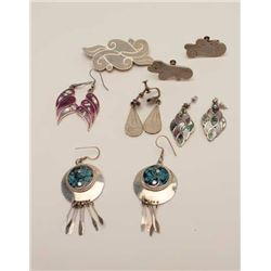 5 pairs of inlaid sterling silver earrings  and a brooch including signed taxco items   Est:$175-200