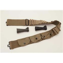 Two flash hiders for M1 carbine or grease gun  and a military shotgun woven cartridge shell  belt.