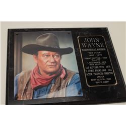 """John Wayne color photo on plaque,  approximately 12"""" x 15"""" with credit listings,  awards, etc.; a gr"""