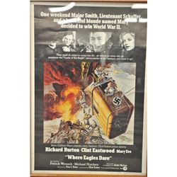 """Framed advertising poster for the movie  """"Where Eagles Dare"""", approximately 40"""" x 28""""  with tunic an"""