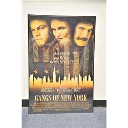 "Framed original ""Gangs of New York"" movie  poster, starring Leonardo DiCaprio, Daniel  Day-Lewis and"