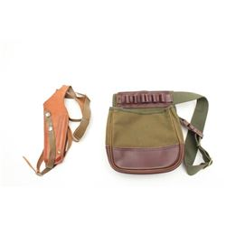 Lot of 3 items as described: #1 is a Boyt  canvas and leather shotgun shell bag in very  good condit