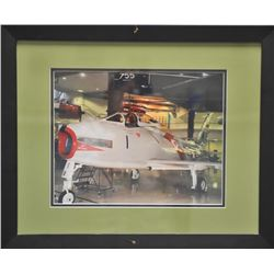 """Framed and matted color photo of an F86 jet  plane on display at Dulles Airport,  approximately 18"""""""