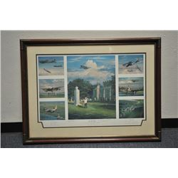 """Large framed and matted print of World War II  US Eighth Air Force aircraft.  The piece,  title, """"Le"""