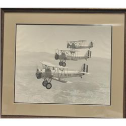"""Framed and matted large photo of 3 U.S.  Marine bi-planes, flying in formation;  approximately 27"""" x"""