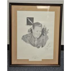 Lot of 5 framed U.S. military pieces  including limited edition (500) print of  Congressional Medal
