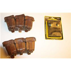 Lot of 3 WW II leather German ammo pouches  and one modern HKS magazine pouch.         Est.:  $50-$1