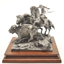 "Pewter sculpture by Donald Polland and issued  by Chilmark Collectors Society entitled  ""Buffalo Hun"