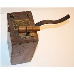 """DuPont wooden """"Blasting Machine No. 3"""",  approximately 17"""" in height including  charging handle, 6"""""""