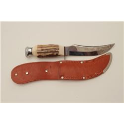 """Thalson marked """"Solingen, Germany"""" hunting  knife with stag grip and scabbard. Near  excellent 1950'"""