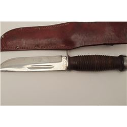 """Case XX U.S. issues knife with plated blade  and ribbed leather grip marked """"C.H.D."""" on  the butt. I"""