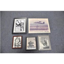 Lot of 8 framed (some matted) pictures of WW  II U.S. pilots from the South Pacific  Theater, mostly