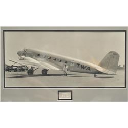 """Framed and matted photo of a TWA-marked DC-1,  approximately 17"""" x 27"""" overall.     From  the Bill B"""