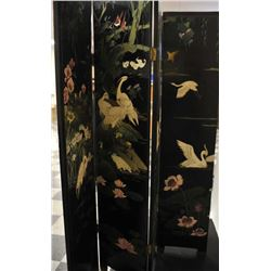 """Fancy inlaid Japanese 6 panel folding wood  and lacquer screen, each panel approximately  72"""" in hei"""