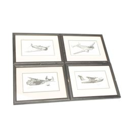 Lot of 4 small framed and matted lithographs  of 2 military sea planes, a beachcraft plaine  and a N