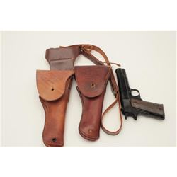 Lot of 2 leather U.S. flap holsters for Model  1911 pistol, one with shoulder straps and  non-firing
