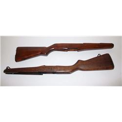 """Lot of 2 M1 Garand rifle stocks, one  unmarked, the other with butt plate, sling  swivels and """"R"""" an"""