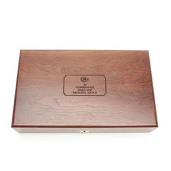 Colt wooden presentation display box for a  .45 Commander Gold Cup National Match pistol;  fine over