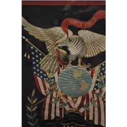 "Large framed and matted hand sewn Marine  Corp. emblem showing Eagle and Flag,  approximately 45"" x"