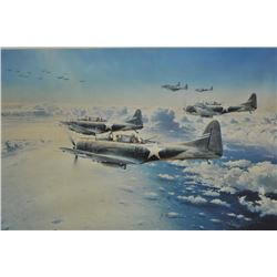 "Large framed and matted color print entitled  ""Midway-The Turning of The Tide"" by Robert  Taylor, li"