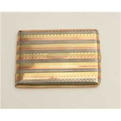 Multi-color rolled gold cigarette case,  signed Bigney and marked 10 yrs, 90 grams  weight.     Est.