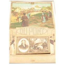 Vintage 1912 DuPont calendar with advertiser  portraying E.I. dupont de Nemours, the  company founde