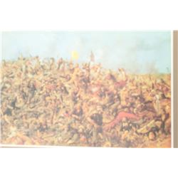 Vintage Edgar S. Paxson print depicting  Custer's Last Stand.  Nicely framed and  matted the print w