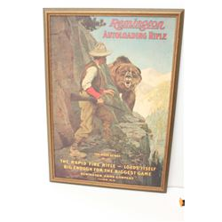 Modern reproduction of a Remington  advertisement.  A framed advertisement for  the Remington auto l