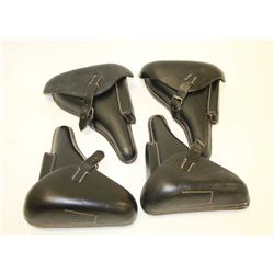 Lot of 4 Luger P08 leather flap holsters;  good quality reproductions with swastika  markings.     E