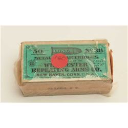 Box of .38 Long RF caliber cartridges,  Stetson 1871 Patent, un-opened, by  Winchester; almost fine
