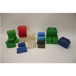 Reloaders lot of empty plastic ammo boxes for  both rifle and pistol; 20, 50 & 100 count  boxes; ove