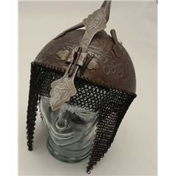 Twentieth Century Indo-Persian helmet for  parades; etched with prayers and sayings;  chainmail drop