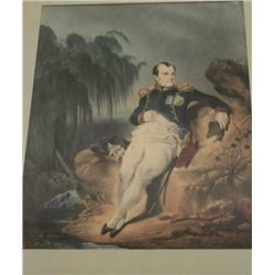 "Framed 19th Century water color of Napoleon  signed L.R.; approximately 16"" x 13""; some  damage to f"