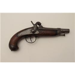 "French 1842 Gendarme style percussion pistol,  .60 caliber, 10"" overall, un-marked; in  overall good"