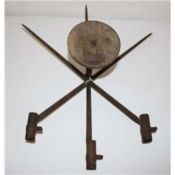 Three Dreyse needle gun socket bayonets made  into wall art.      Est.:  $150-$300.