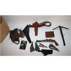 Bonanza basket  from a shooter/collector's  estate including a crossbow, flasks,  holsters, repro's