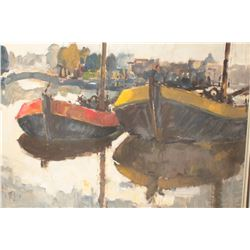 Framed oil painting of ships in harbor,  signature appears to be  L. L. difficult to  read; approxim