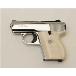 Lorcin L25 semi-auto pistol in .25 caliber,  S/N 136481. Fine to excellent condition.  Purportedly o