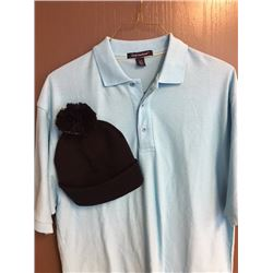 Men's light blue polo size L and black toque ($50) from Promosapien