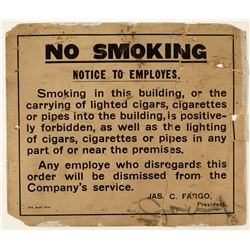 Adams Express No Smoking Sign