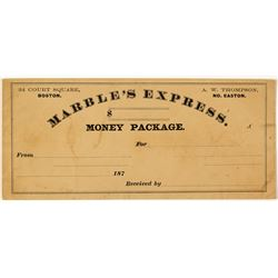 Rare Marble's Express, Boston Money Package Envelope