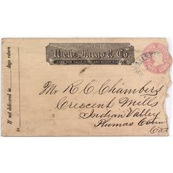 Wells Fargo Cover addressed to Crescent Mills, Indian Valley, Plumas County, Cal.